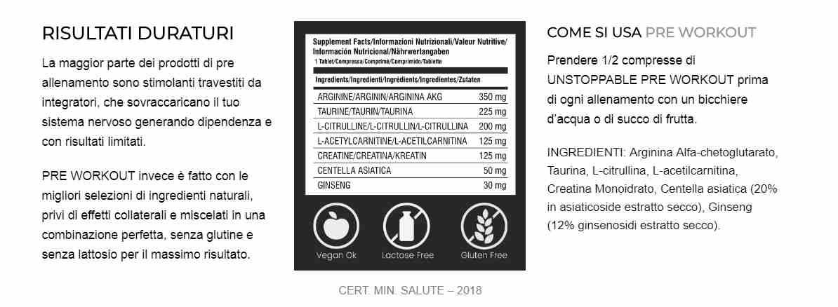 preworkout ingredienti